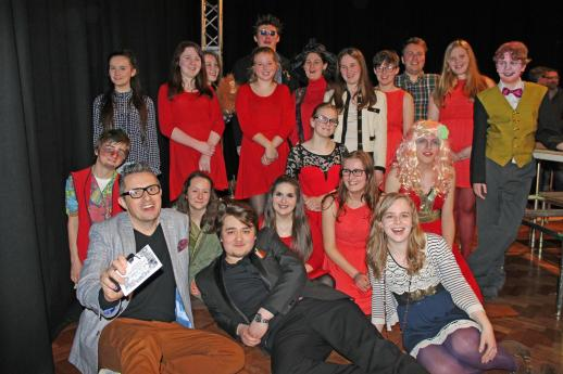 The full cast with Artistic Director Steph Brocken, Youth Theatre Leader Kyle Hill and writer Jim Johnson