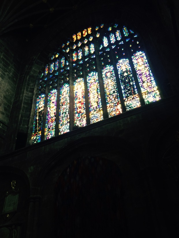 A magnificent stained glass window at Chester Cathedral   Photo: Angela Ferguson