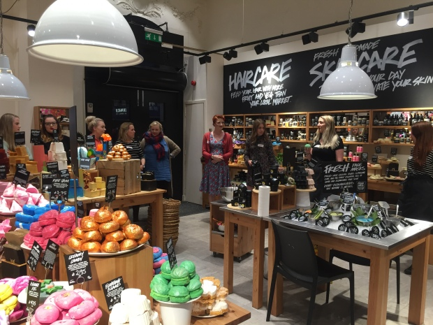 Like children in a sweet shop: the beauty bloggers descend on Lush Chester for the festive showcase Photo: Angela Ferguson