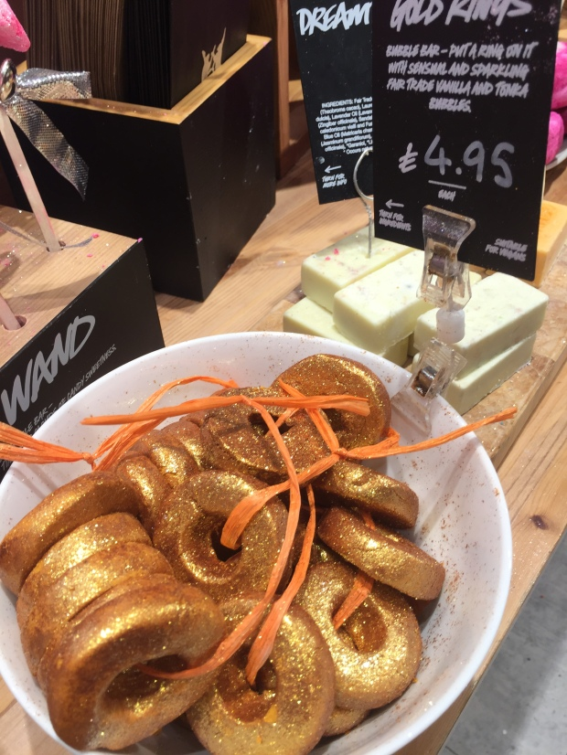 Five gold rings: One of Lush's new festive products Photo: Angela Ferguson