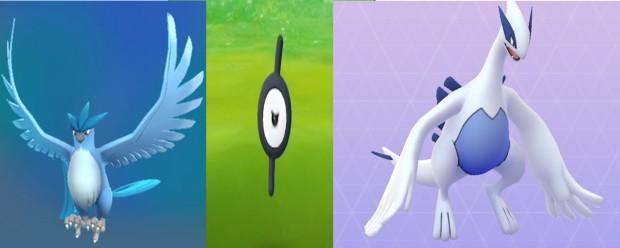Articuno Unown Lugia Pokémon Go