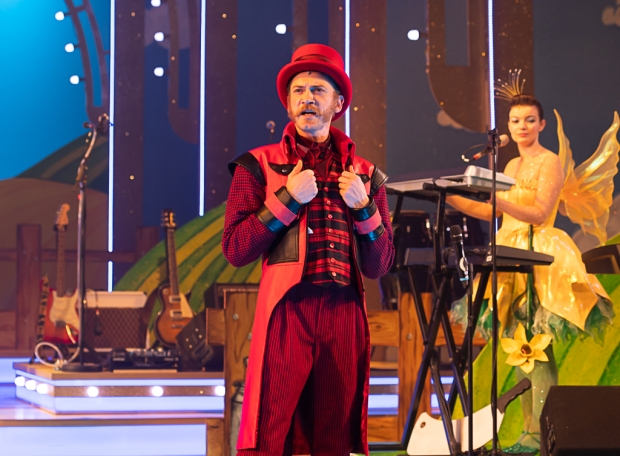Adam Barlow as Squire Simon Stinker. Jack and the Beanstalk the Rock 'n' Roll Pantomime. Theatr Clwyd 2019. (c) Brian Roberts