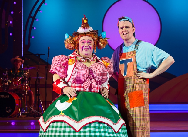 Phylip Harries (left) as Dame Tegwen Trott and Ben Locke (right) as Tommy Trott. Jack and the Beanstalk the Rock 'n' Roll Pantomime. Theatr Clwyd 2019 (c) Brian Roberts